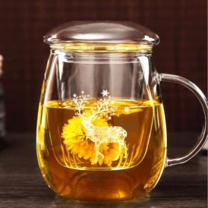 Elk Pattern Glass Tea Cup with Filter Christmas Gift Cup Tea Mug pictures & photos