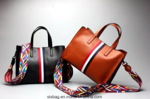 New Professional PU Tote Handbag with Colorful Ribbon for Lady pictures & photos