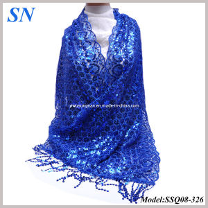 2014 Fashion Solid Blue Sequine Long Slim Scarf Shawl Wrap pictures & photos