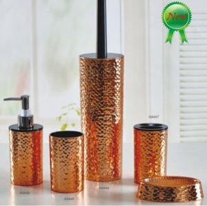 Fashion Plastic Metalic Hammer Effect Golden Bathroom Accessories pictures & photos
