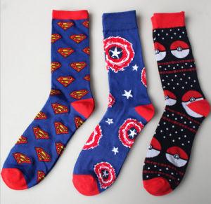 Spring Autumn Individuation Cotton Captain America Elves Ball Men′s Stockings