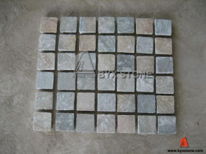 Yellow Vein Grey Slate Cobblestone for Flooring pictures & photos
