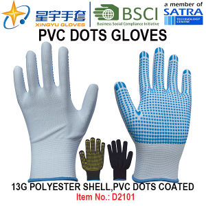 Work Gloves, 13G Polyester Shell PVC Dots Coated Gloves (D3101) with CE, En420 pictures & photos