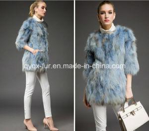 Women′s Winter Warm Raccoon Fur Long Coat Gradient Color pictures & photos