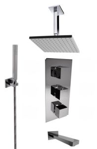 3-Way Brass Chrome Plated Shower Set with Thermostatic Faucet pictures & photos