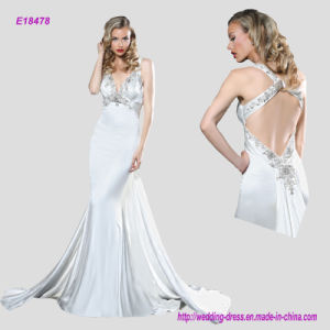 Glamour Sheath Evening Gown with Beaded Embellishment Enhanced The Plunging V Neckline Complete and Criss-Cross Beaded Back pictures & photos