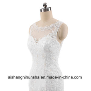 Elegant Mermaid Wedding Dress Sleeveless Lace Appliques Wedding Gown pictures & photos