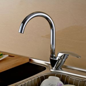 Kitchen Faucet Chrome Deck Mounted Rotatable Single Lever Cold&Hot pictures & photos