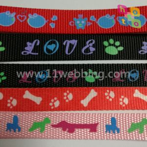 Printed Polyester Nylon Webbing for Pet Leashes and Dog Collar pictures & photos