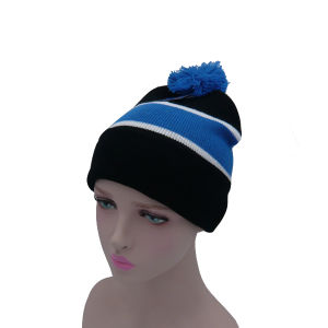 Stripes Knitted Hat with Ball pictures & photos
