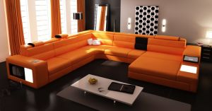 Living Room Sofas with LED Modern Corner Sofa with L Sectional Shaped pictures & photos