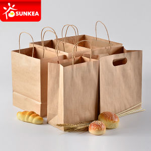 Patch Handle Take Away Kraft Paper Food Carrying Bag pictures & photos