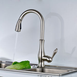 FLG Brass Deck Mount Brushed Nickel Basin Kitchen Faucet pictures & photos