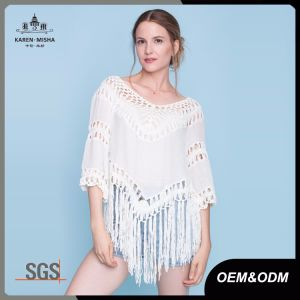 Ladies V Neck Crochet Blouses with Fringes pictures & photos