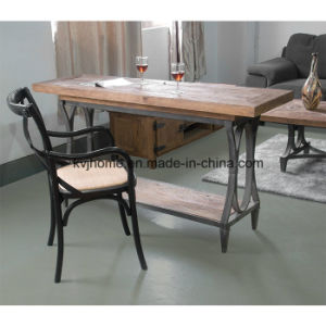 Rustic Recycled Elm Iron Branded Dining Table (Dt-4061) pictures & photos