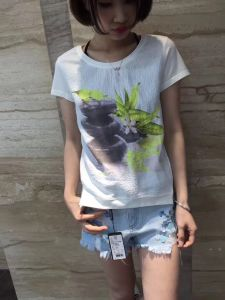 Summer Fashion Flower Printed Short Sleeve T-Shirt Clothes pictures & photos