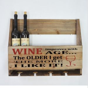 Wooden Wall Mounted Wine Bottle & Glasses Storage Holder Vintage Home Bar Rack pictures & photos