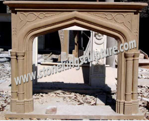 Natural Sandstone Fireplace Mantel (SK-2547) pictures & photos