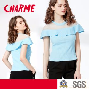 Fashion Mesh Top 2*2 Rib Cotton T-Shirt Blouse pictures & photos