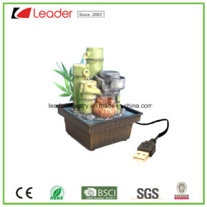 USB Charged Polyresin Water Fountain Bamboo Figurine for Table Decoration pictures & photos