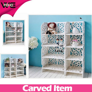Carved White Plastic Stacking Cube Wall Storage Shelf pictures & photos