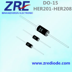 2A Her201 Thru Her208 High Efficiency Rectifier Diode Do-15 Package pictures & photos