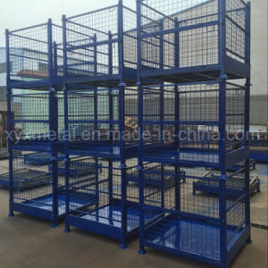 Warehouse Stacking and Folding Storage Container Wire Mesh Stillage pictures & photos