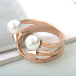 Punk Fashion Jewelry Stainless Steel Personalized Pearl Finger Ring pictures & photos