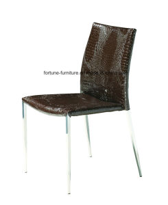 Faux Leather Upholstered Brown Dining Chair with Metel Leg (B801)