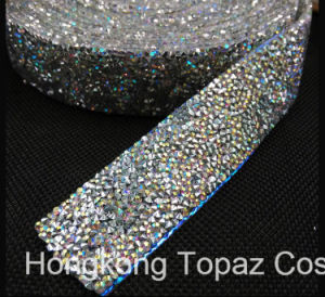 3cm Width 100 Yard Roll Crystal Ab Color Rhinestones Mesh Trim Strass Chain Banding Crystal Wedding Applique Dresses Crafts (TS-037) pictures & photos