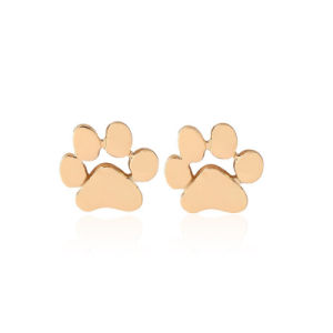 Pet Dog / Cat Paw Metal Stud Earrings - Gold-Silver Tone