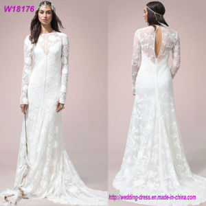 Sexy White A-Line Long Sleeve White Wedding Dress 2017 pictures & photos
