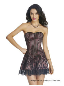 Women′s Sexy Lace up Bustier Dress Gothic Corset Clubwear pictures & photos