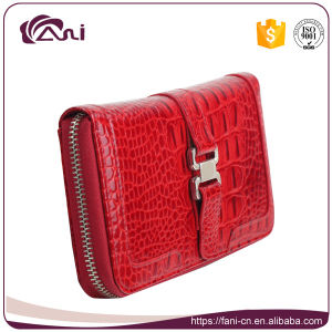Colorful Leather Purse High Quality, Red Zip Real Leather Wallet with Crocodile Skin pictures & photos