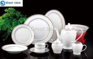 47PCS Porcelain Dinner Plate Wholesale Ceramic Dinner Plate Set with Gold & Silver Decal pictures & photos