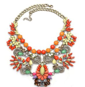 Fashion Metal Resin Colorful Crystal Statement Choker Necklace Jewelry pictures & photos