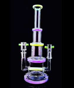 15 Inch 14mm Joints Male Female Colorful Glass Smoking Water Pipe pictures & photos