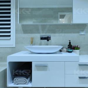 European Modern White Stone Acrylic Solid Surface Sink pictures & photos