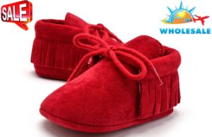 Wholesale Tassel Baby Shoes Soft Soles Lace-UPS Shoes with Nubuck Upper pictures & photos