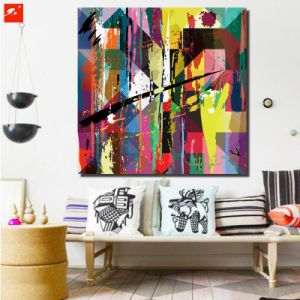 Colorful Abstract Canvas Print Oil Painting for Decor pictures & photos