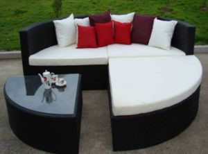4 PCS Black Wicker Rattan Sofa Bed Outdoor Garden Furniture
