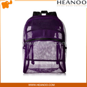 See Thru Purple Girls Womens Mesh Bags Backpacks for School pictures & photos