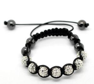"Clear Pave Rhinestone Beads & Hematite Beads & Black Braiding Adjustable Bracelet for Kids/Children 16cm (6-1/4"")"