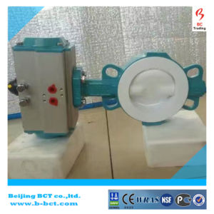 Cast Iron Body Anticorrosion PTFE Lined Butterfly Valve Wth Pneumatic in China Bct-F4pbfv-1 pictures & photos