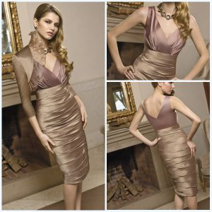 Hot Magnificent V Neck Jacket Sheath Ruffle 6taffeta Mother Dresses (MTD-016)