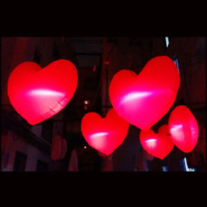 1.5m LED Inflatable Red Heart Balloon for Valentine′s Day Decoration