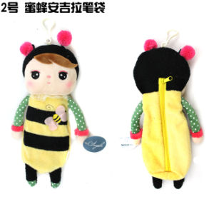 Free Shipping Plush and Stuffed Toy Bee Doll Pencile Bag for Children, 27cm, 100PCS/Lot
