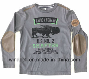 Plain Printed Cotton Jersey T Shirt for Boy with PU Patch pictures & photos
