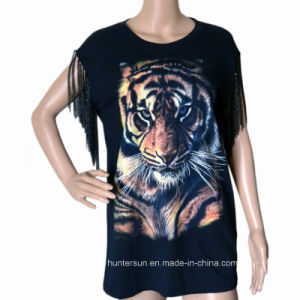 Women Fashion Cotton Tiger Printed with Chain Embroidered T-Shirt (HT70089)