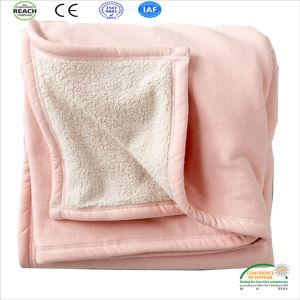Pink Coral Fleece Baby Blanket Double Stitch Heming Edges pictures & photos